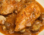 Chicken chasseur, classic French casserole with mushrooms, shallots and herbs.