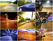 Collage of cars driving fast on different roads