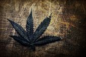 stock photo of cannabis  - Vintage grunge cannabis leaf - JPG