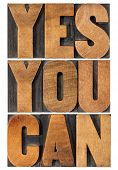 Yes you can - motivational slogan - isolated text in vintage letterpress wood type printing block, rectangular layout