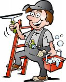 Hand-drawn Vector Illustration Of An Happy Window Cleaner
