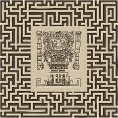 Vector Mayan And Inca Tribal Symbols On Maze