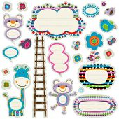 colorful labels set with cute elements