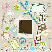 baby background, colorful scrapbook set with cute elements