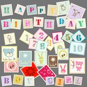 baby postage cute set of letters, numbers and various elements