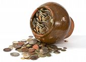 Clay Pot With Antique Coins