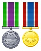 Caixa de Metal duas medalhas e fitas
