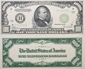 picture of one hundred dollar bill  - Both sides of a real antique Thousand Dollar Bill from 1934 no longer in circulation shows grover cleveland on front - JPG