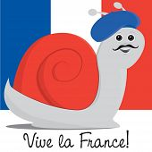 stock photo of french beret  - Snail in a beret Bastille Day card in vector format - JPG