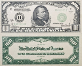 stock photo of one hundred dollar bill  - Both sides of a real antique Thousand Dollar Bill from 1934 no longer in circulation shows grover cleveland on front - JPG