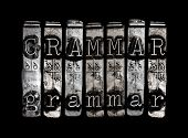 pic of grammar  - Grammar concept in metal type on black background - JPG