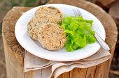 Baked Potato And Buckwheat Patties With Salad Leaves Served Outdoor, Selective Focus