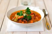 stock photo of potato-field  - Trout, Tomato And Chili Soup in a Deep Plate