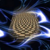 pic of plasmatic  - Abstract glowing plasmatic laser background with distorted checkered object - JPG