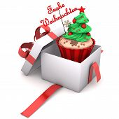 image of weihnachten  - Openend Gift with cupcake and german text Frohe Weihnachten translate Merry Christmas - JPG