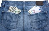 Jeans With Currency In Their Pockets