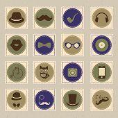 Hipster vintage stamp icon set vector illustration