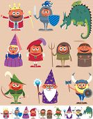 picture of woman dragon  - Set of 10 cartoon medieval characters - JPG