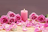Pink spa sitting candle and rose flowers with petals