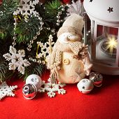 image of home is where your heart is  - Cute little adorable snowman is standing near the white fairy lantern and decorated fir tree branch behind it - JPG