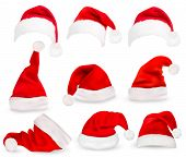 Collection of red santa hats. Vector.  poster