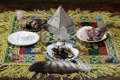 picture of metaphysical  - mesa metaphysical altar and shamanic tools and objects - JPG