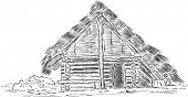 vector - Prehistoric huts of wood and reeds, hand drawing