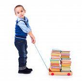 Little Boy Pulling Books In Toy Cart