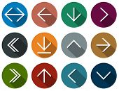 pic of red back  - Vector illustration of plain round arrow icons - JPG