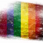 stock photo of gay flag  - Gay pride flag with some grunge effects and lines - JPG