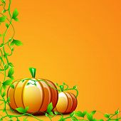 Happy Thanksgiving Day concept with pumpkins and green leaves on yellow background, can be use as flyer, banner or poster.