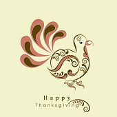 Beautiful floral decorated turkey bird for Happy Thanksgiving Day celebration, can be use as flyer,