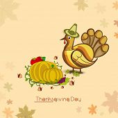 Vintage Happy Thanksgiving Day concept with turkey bird wearing pilgrim hat, fruits and vegetables on autumn leaves decorated background.