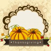 Happy Thanksgiving Day concept with pumpkin and blank space for your text, can be use as flyer, banner or poster.