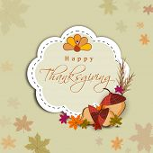 Vintage Happy Thanksgiving Day concept with turkey bird, wheat, maple leaves and space for your text, can be use as flyer, banner or poster.