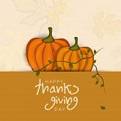 Happy Thanksgiving Day concept with pumpkin with autumn leaves on pink and brown background, can be use as flyer, banner or poster.