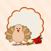 Happy Thanksgiving Day concept with turkey bird and blank space for your message on floral decorated background, can be use as flyer, banner or poster.