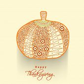 Floral decorated shiny pumpkin on abstract background, for Happy Thanksgiving Day celebration background.