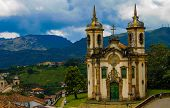 Beautiful Church In Historical City Of Ouro Preto, Minas Gerais, Brazil