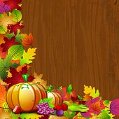 picture of brinjal  - Happy Thanksgiving Day background with pumpkin and colorful autumn leaves on wooden background - JPG