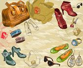Fashion background with shoes, woman accessories and flowers