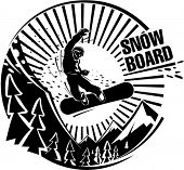 Snowboard jumping in mountains. Vector illustration in the engraving style