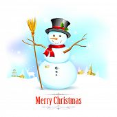 illustration of Snowman with broom in Christmas Background