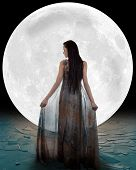 stock photo of faerie  - Ice princess walking into the moon - JPG