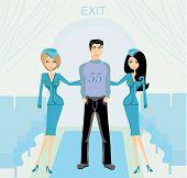 Two Beautiful Stewardess In Blue Uniforms Inside An Airliner Passenger Cabin