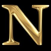 image of letter n  - Golden shining metallic 3D symbol capital letter N  - JPG