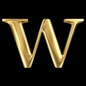 Golden shining metallic 3D symbol capital letter W - uppercase isolated on black
