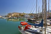 Medieval castle and old harbor in Kyrenia, Cyprus.