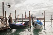 Gondolas and San Giorgio Maggiore church in the background, Venice, Italy