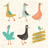 Five cute geese in vector set. Cartoon geese in childish style. Funny birds of floral wallpaper in vector